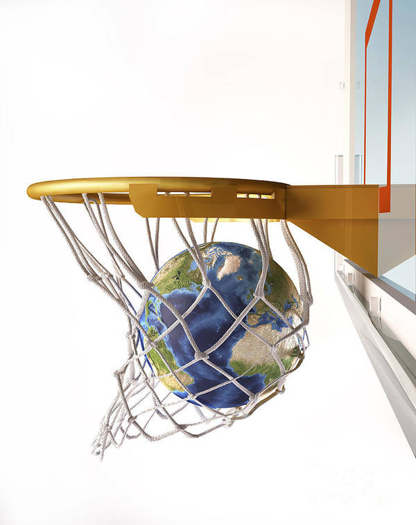 America Art Print featuring the digital art 3d Rendering Of Planet Earth Falling by Leonello Calvetti
