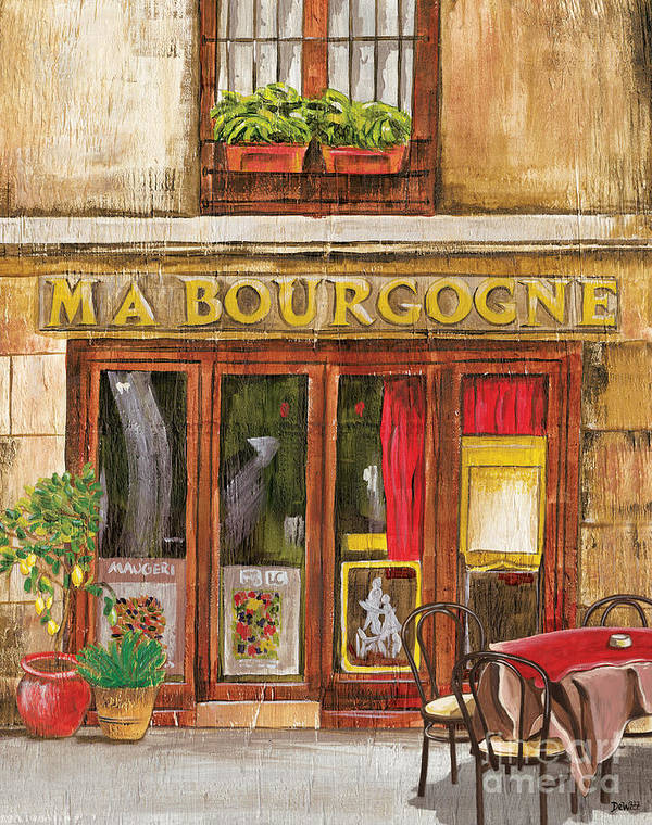 Restaurant Art Print featuring the painting French Storefront 1 by Debbie DeWitt