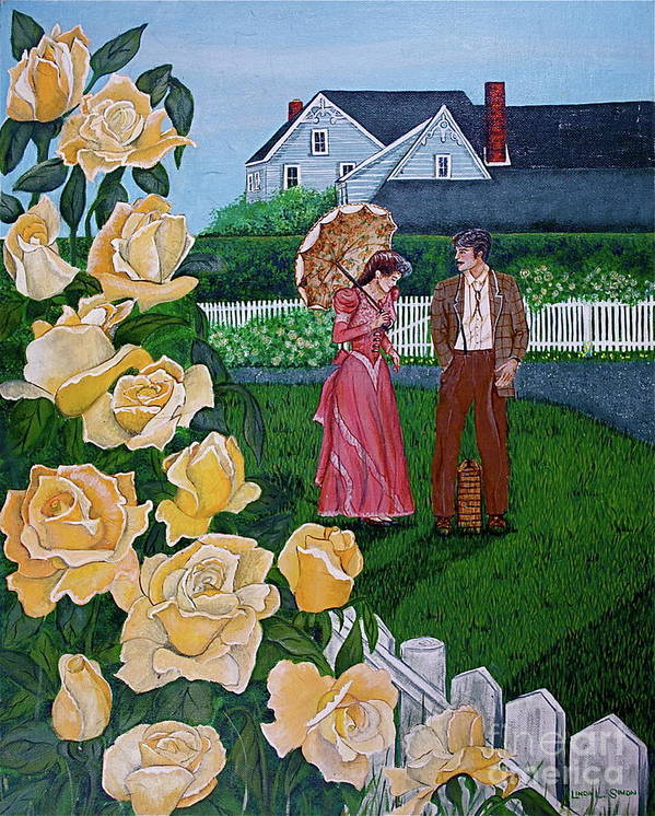 Picnic Art Print featuring the painting Grace Under The Parasol by Linda Simon