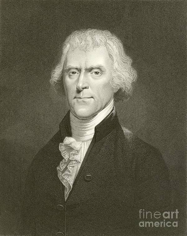 Thomas Jefferson Print featuring the drawing Thomas Jefferson by English School