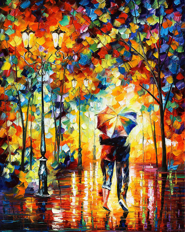 Under Art Print featuring the painting Under One Umbrella by Leonid Afremov