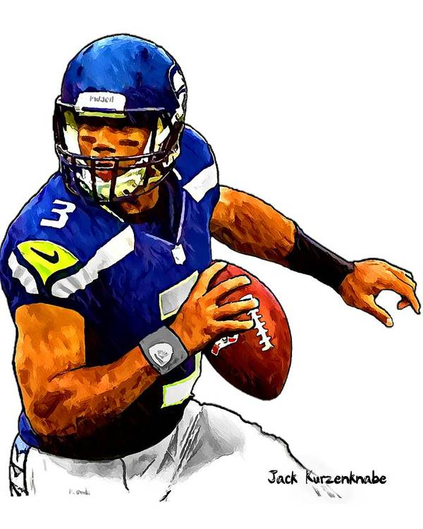Sports Nfl Art Sketch Drawings nfl Art nfl Artwork nfl Drawings nfl Sketches seattle Seahawksseattle Seahawks Russell Wilson Art Print featuring the digital art 302 by Jack K