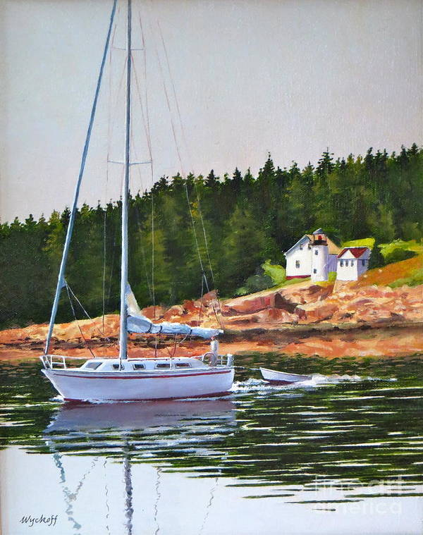 Sailboat Art Print featuring the painting Bass Harbor Light by Karol Wyckoff