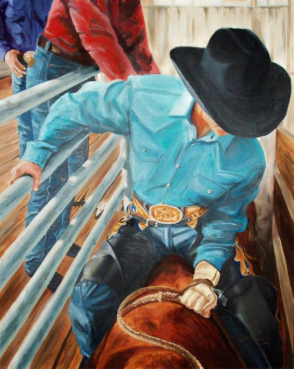 Cowboy Art Print featuring the painting 8 Second Addiction by Scott Alcorn