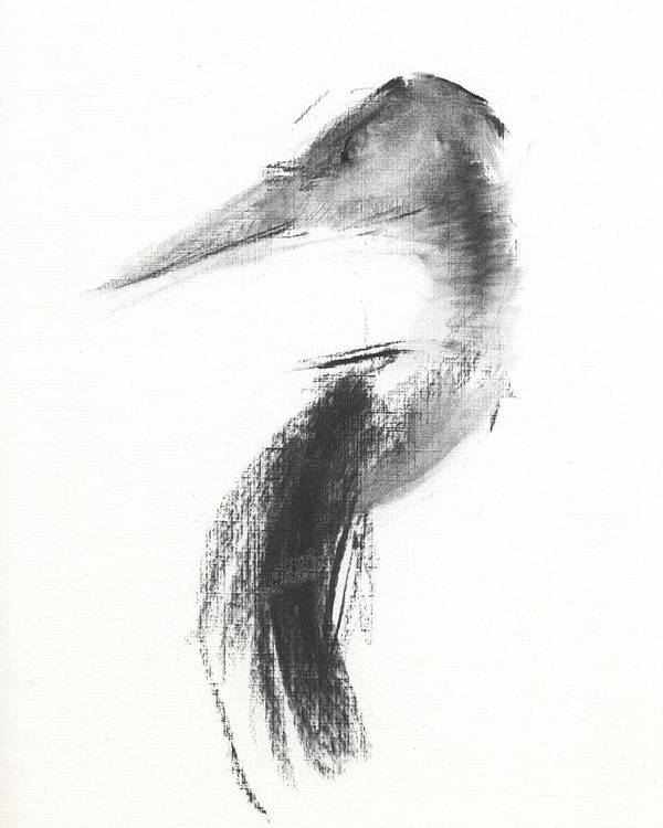Heron Art Print featuring the drawing Rcnpaintings.com by Chris N Rohrbach