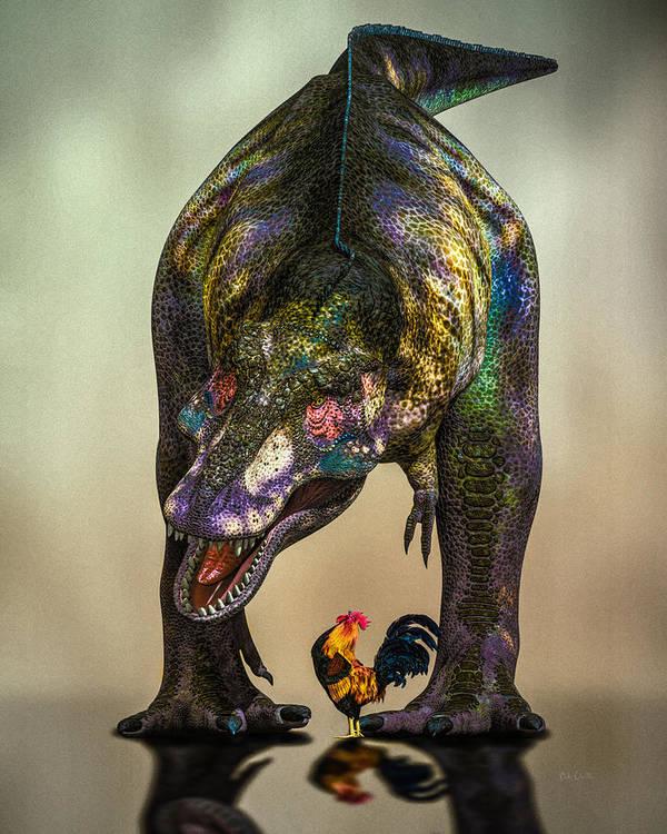 Dinosaur Print featuring the digital art A Bird Are You Crazy Bro by Bob Orsillo
