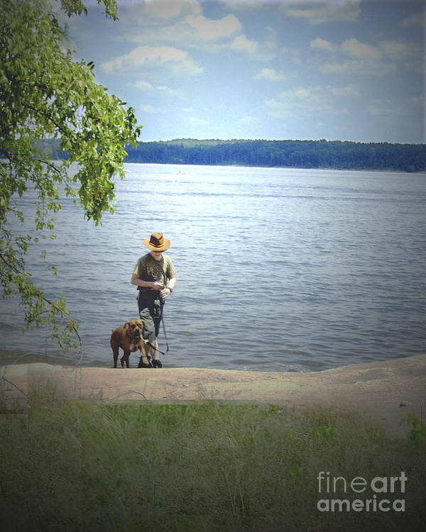 Boxer Art Print featuring the photograph A Boy And His Dog by Sandra Clark