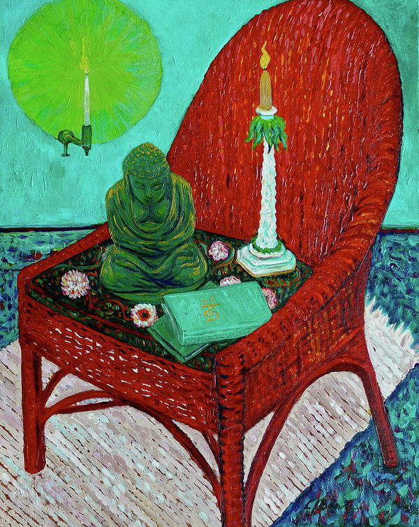 Buddha Art Print featuring the painting A Prayer For Vincent by Linda J Bean