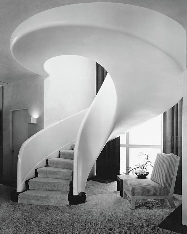 Interior Art Print featuring the photograph A Spiral Staircase by Hedrich-Blessing