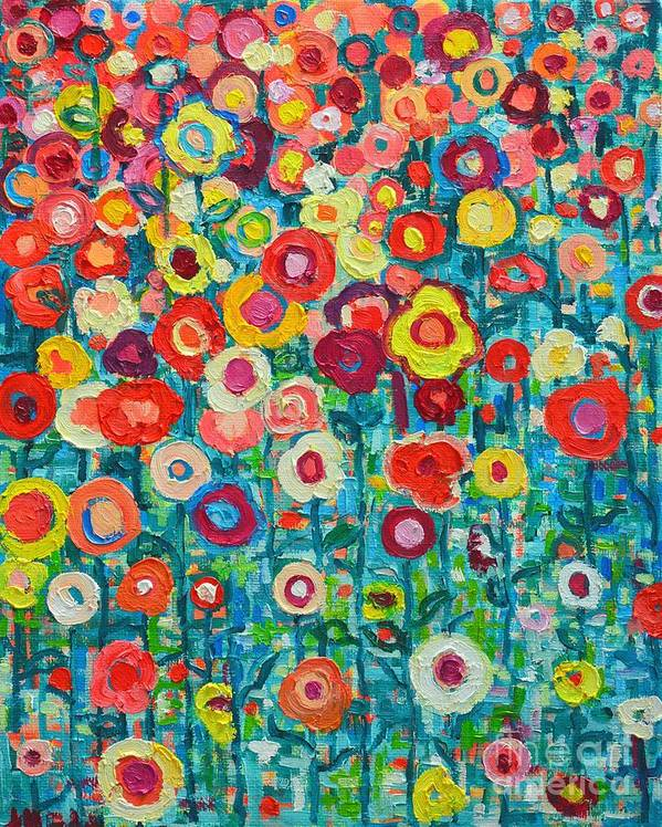 Abstract Art Print featuring the painting Abstract Garden Of Happiness by Ana Maria Edulescu