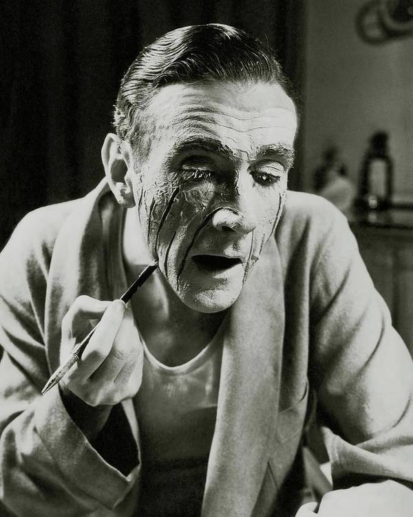 Actor Art Print featuring the photograph Actor Clifton Webb Applying Make-up by Lusha Nelson
