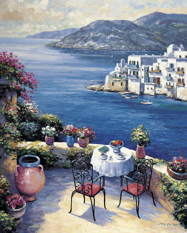 Pallet Art Print featuring the painting Aegean Vista by John Zaccheo