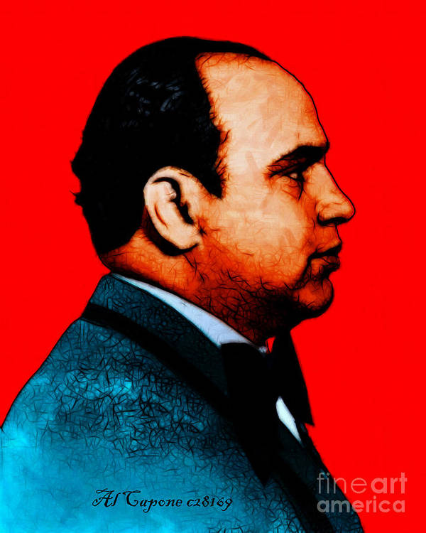 Celebrity Art Print featuring the photograph Al Capone C28169 - Red - Painterly - Text by Wingsdomain Art and Photography
