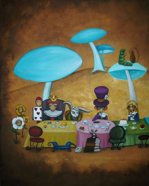 Alice In Wonderland Art Art Print featuring the painting Alice In Wonderland Art - Mad Hatter's Tea Party I by Charlene Murray Zatloukal