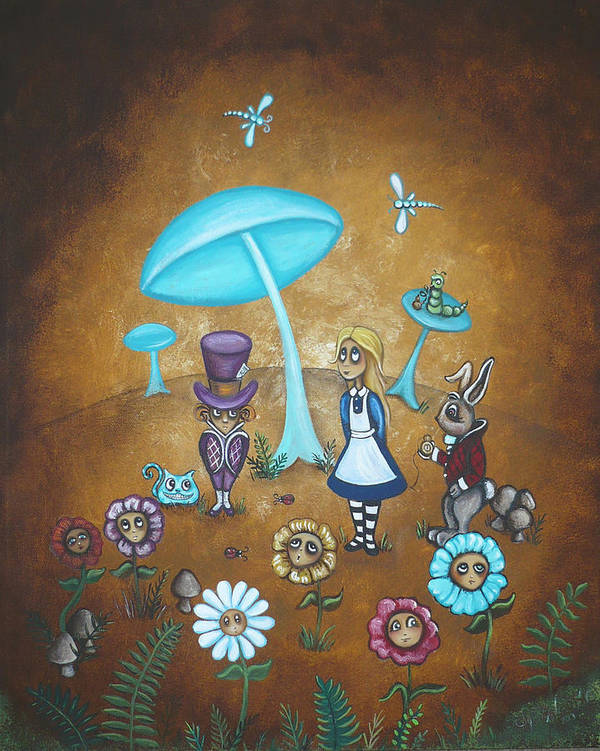 Fairytale Art Print featuring the painting Alice In Wonderland - In Wonder by Charlene Murray Zatloukal