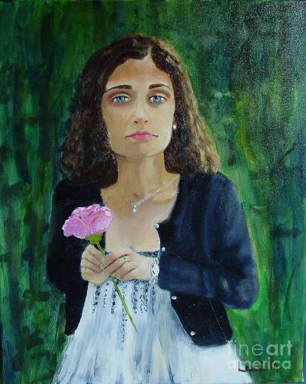 Portrait Art Print featuring the painting Aly by Laurie Morgan