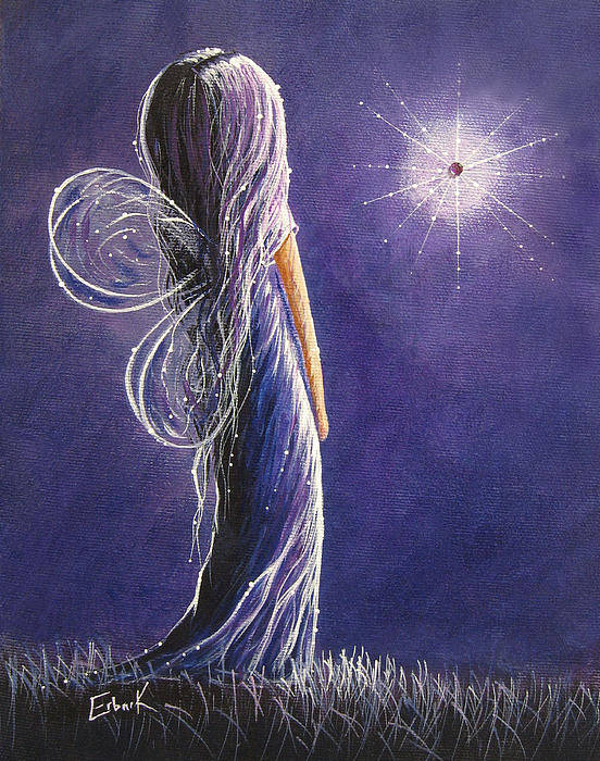 Fairies Print featuring the painting Amethyst Fairy By Shawna Erback by Shawna Erback