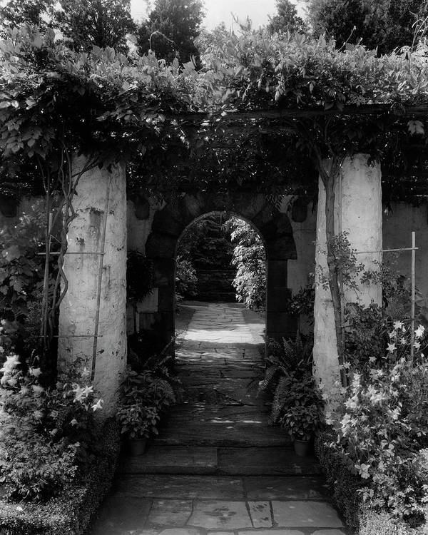 Exterior Art Print featuring the photograph An Archway In The Garden Of Mrs. Carl Tucker by Harry G. Healy