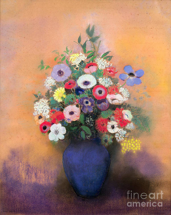 Still Life; Fa00571; Lilas; Flowers; Arrangement Art Print featuring the painting Anemones And Lilac In A Blue Vase by Odilon Redon