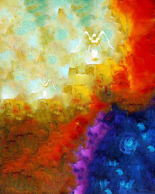 Angel Art Print featuring the painting Angels Among Us - Emotive Spiritual Healing Art by Sharon Cummings