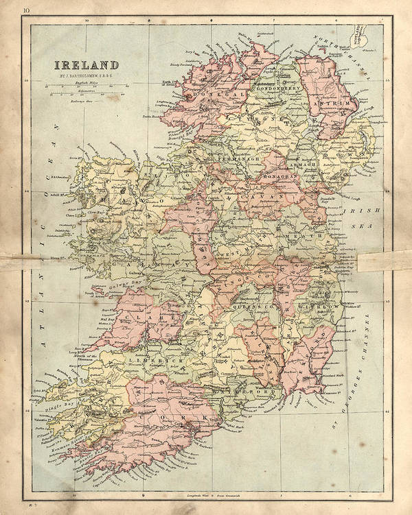 Map Of Ireland Print.Antique Damaged Map Of Ireland In The 19th Century Art Print By