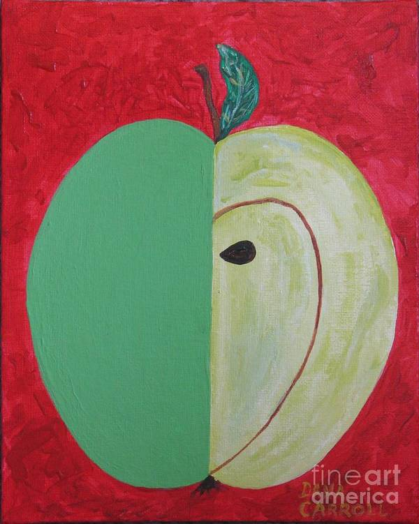 Apple Paintings Art Print featuring the painting Apple In Two Greens 02 by Dana Carroll