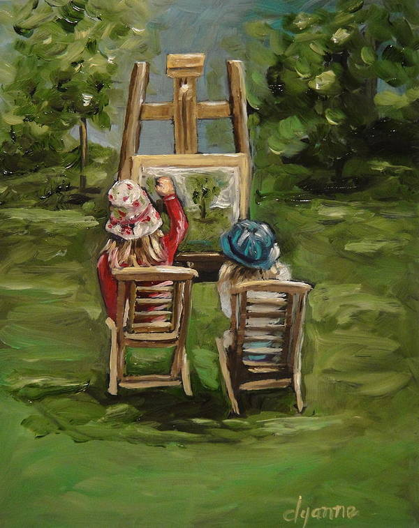 Figurative Art Print featuring the painting Art Of Teaching Oil Painting by Dyanne Parker
