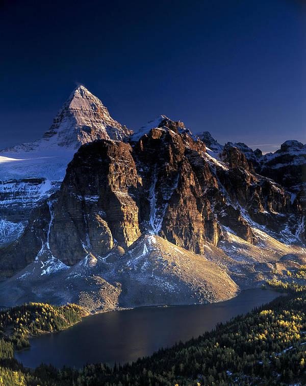 Assiniboine Art Print featuring the photograph Assiniboine And Sunburst Peak At Sunset by Richard Berry