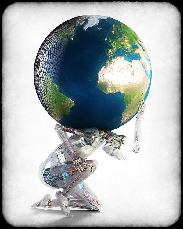 World Art Print featuring the digital art Atlas 3000 by Frederico Borges