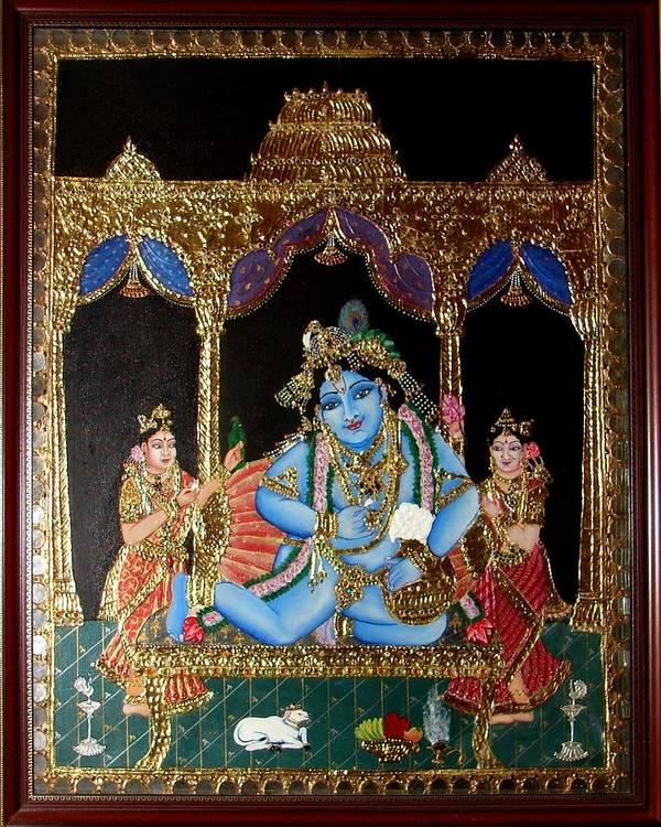 Tanjore Art Print featuring the painting Balakrishna by Jayashree