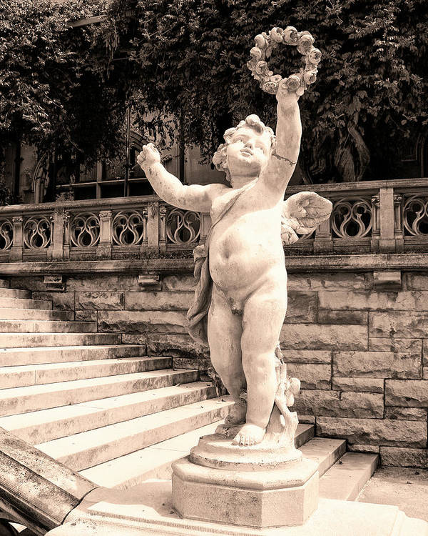 Asheville Art Print featuring the photograph Biltmore Cherub Asheville Nc by William Dey