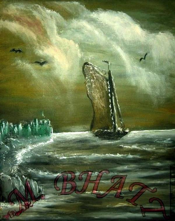 Ocean Art Print featuring the painting Birds Over The Ship by M Bhatt