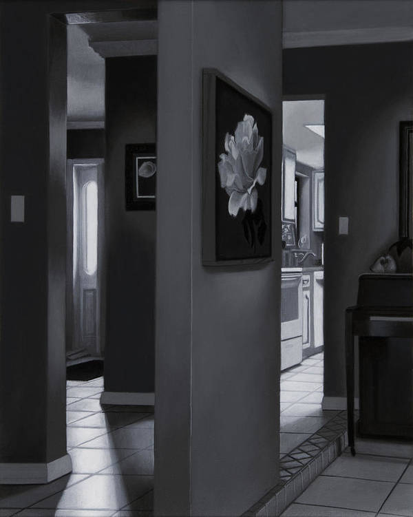 Interior Art Print featuring the painting Black And White Foyer by Tony Chimento