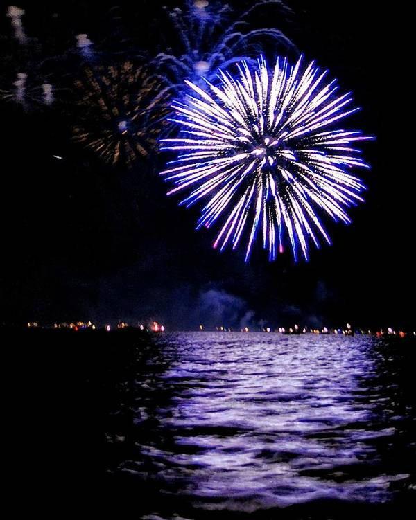 Fireworks Art Print featuring the photograph Blue Sparkle by Cindi Snow