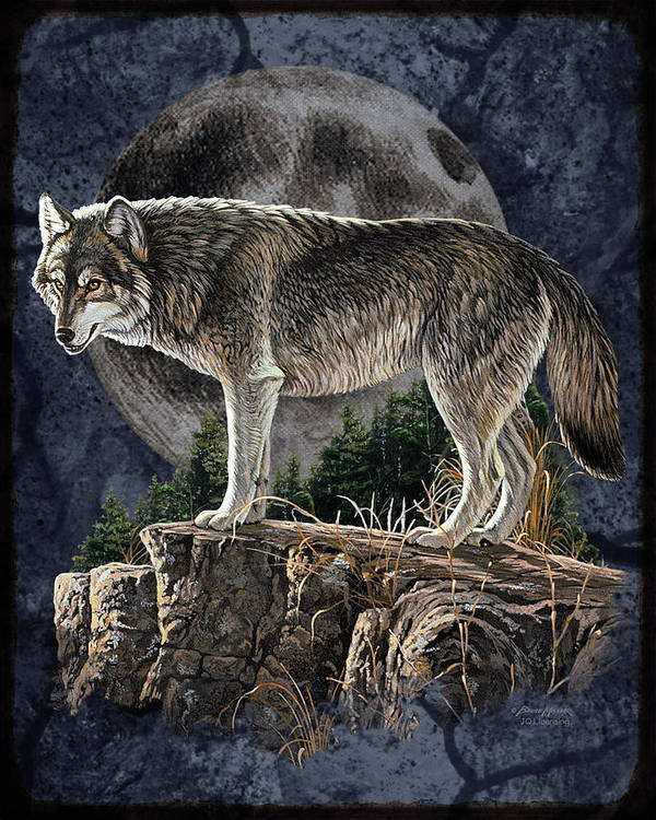 Bruce Miller Art Print featuring the painting Bm Wolf Moon by JQ Licensing