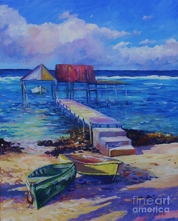 Art Print featuring the painting Boat Shed And Boats by John Clark