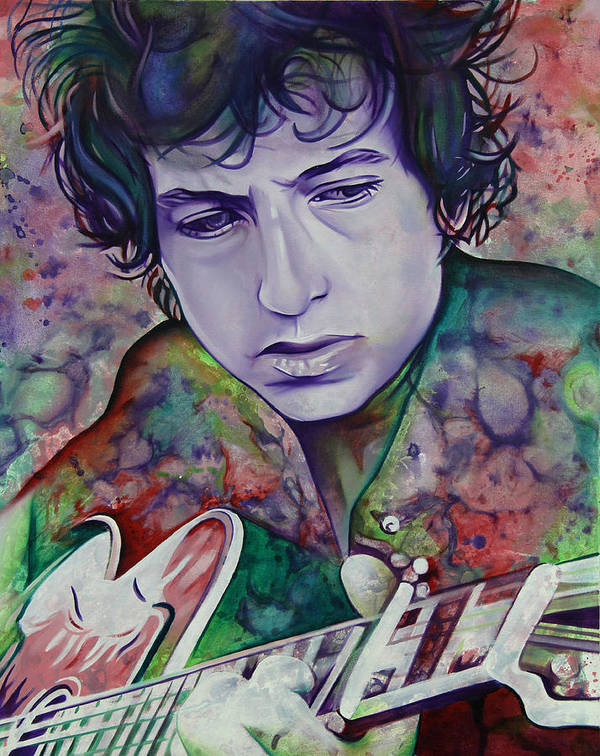 Bob Dylan Art Print featuring the painting Bob Dylan-pink And Green by Joshua Morton