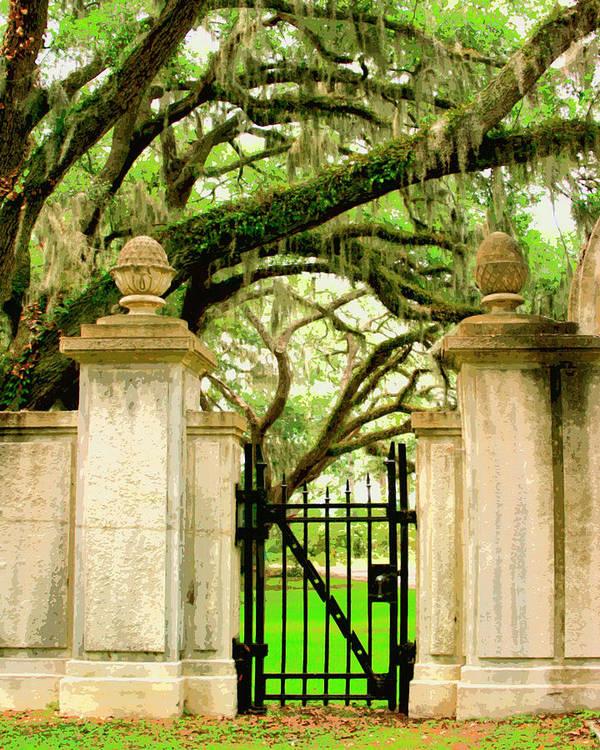 Savannah Art Print featuring the photograph Bonaventure Gate Savannah Ga by William Dey