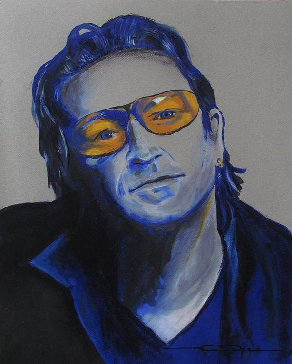 Celebrity Portraits Art Print featuring the painting Bono U2 by Eric Dee