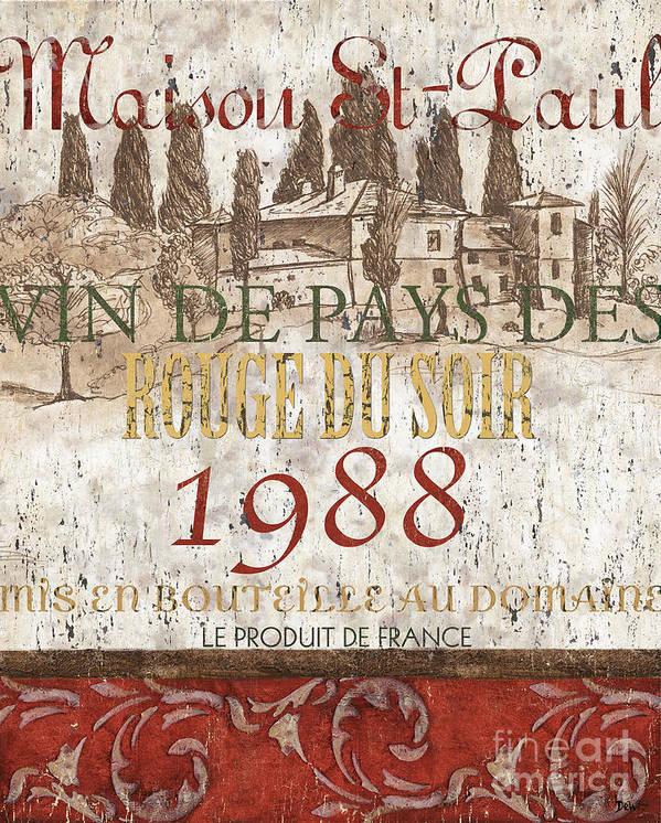 Wine Art Print featuring the painting Bordeaux Blanc Label 1 by Debbie DeWitt