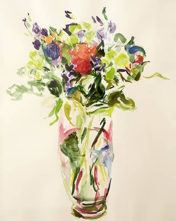 Still Lives Of Flowers Print featuring the painting Bouquet by Julie Held