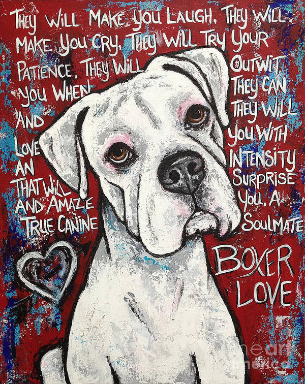 Boxer Art Print featuring the painting Boxer Love by Stephanie Gerace