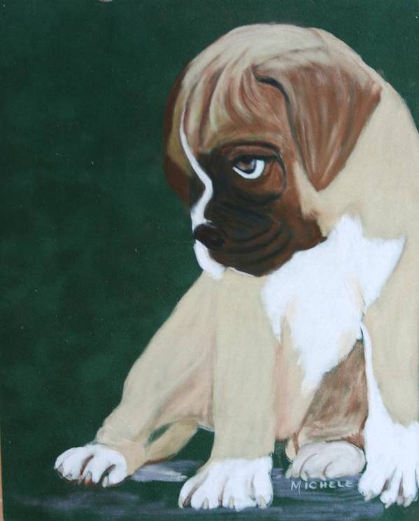 Dogs Art Print featuring the pastel Boxer Pup by Michele Turney