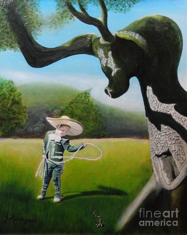 Child Art Print featuring the painting Buckaroo by Juan Romagosa