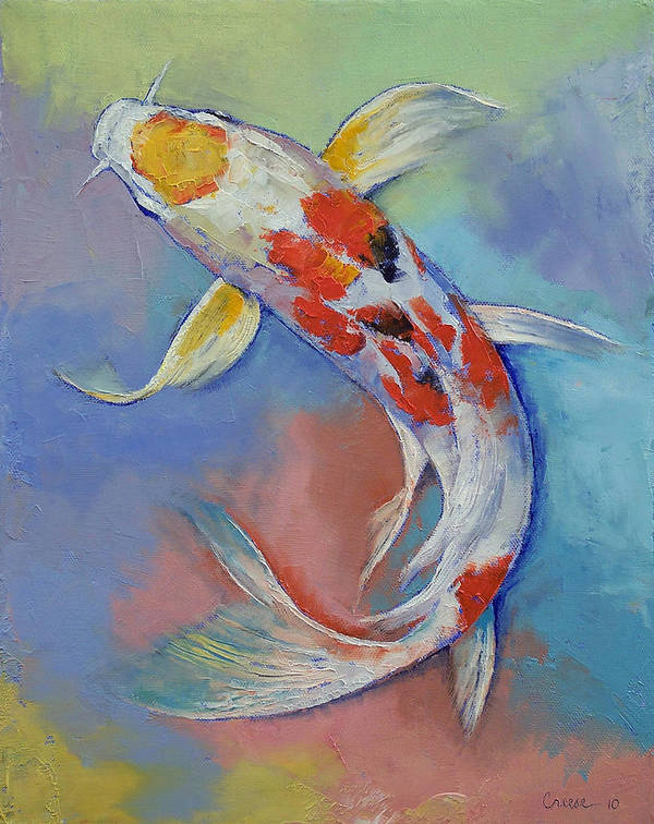 Asian Art Print featuring the painting Butterfly Koi Fish by Michael Creese