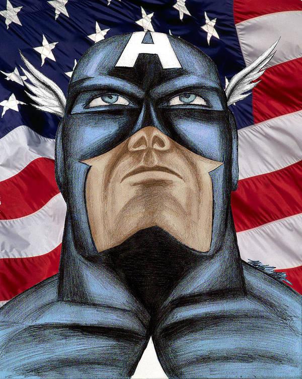 Captain America Art Print featuring the digital art Captain America by Michael Mestas