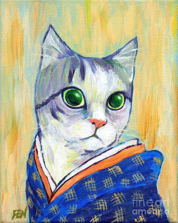 Feline Art Print featuring the painting cat in kimono of Ukiyoe style by Jingfen Hwu