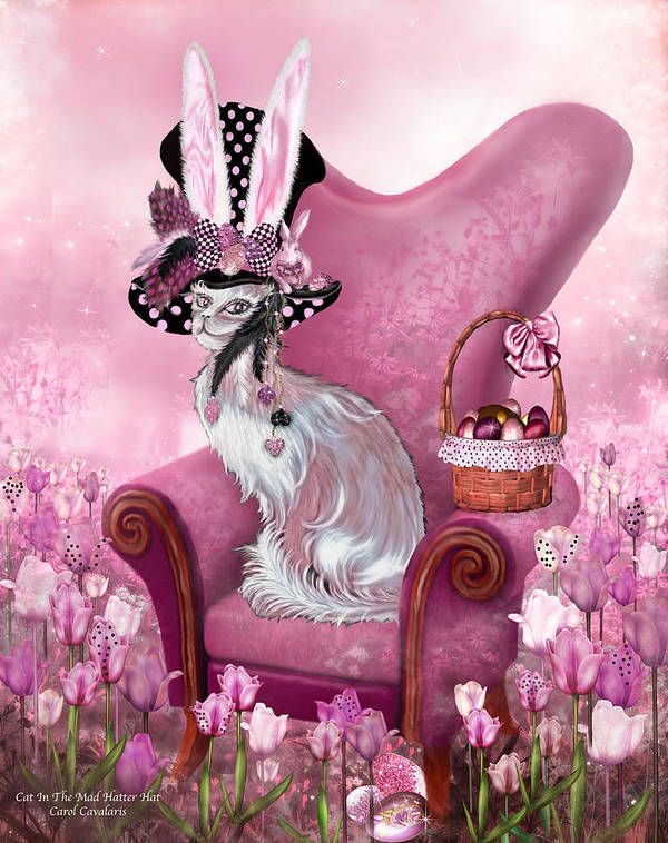 Cat Art Print featuring the mixed media Cat In Mad Hatter Hat by Carol Cavalaris