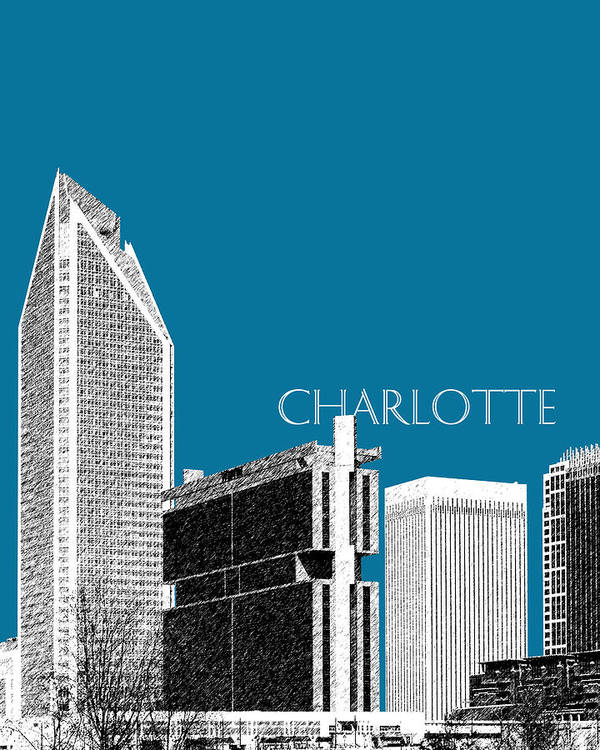 Architecture Art Print featuring the digital art Charlotte Skyline 1 - Steel by DB Artist