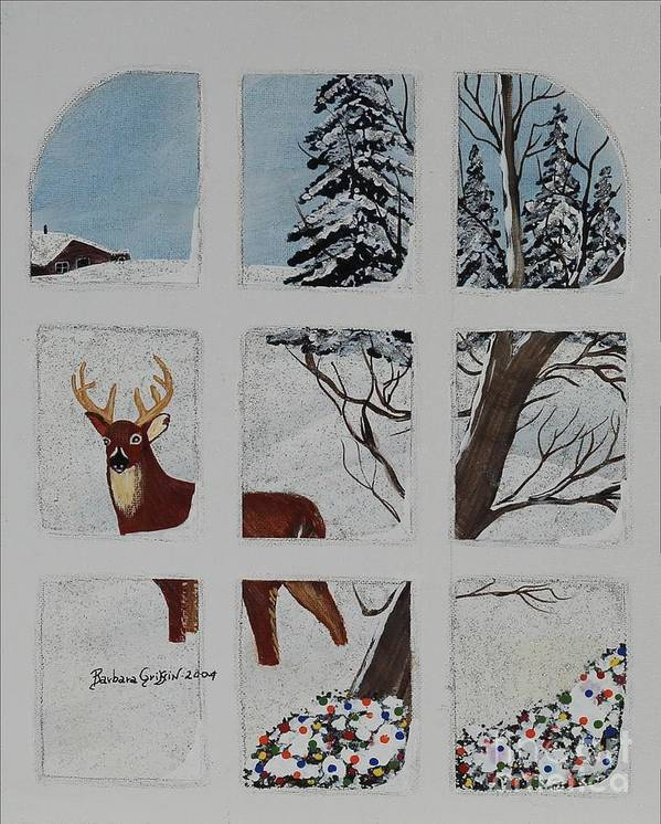 Barbara Griffin Art Print featuring the painting Christmas Deer by Barbara Griffin